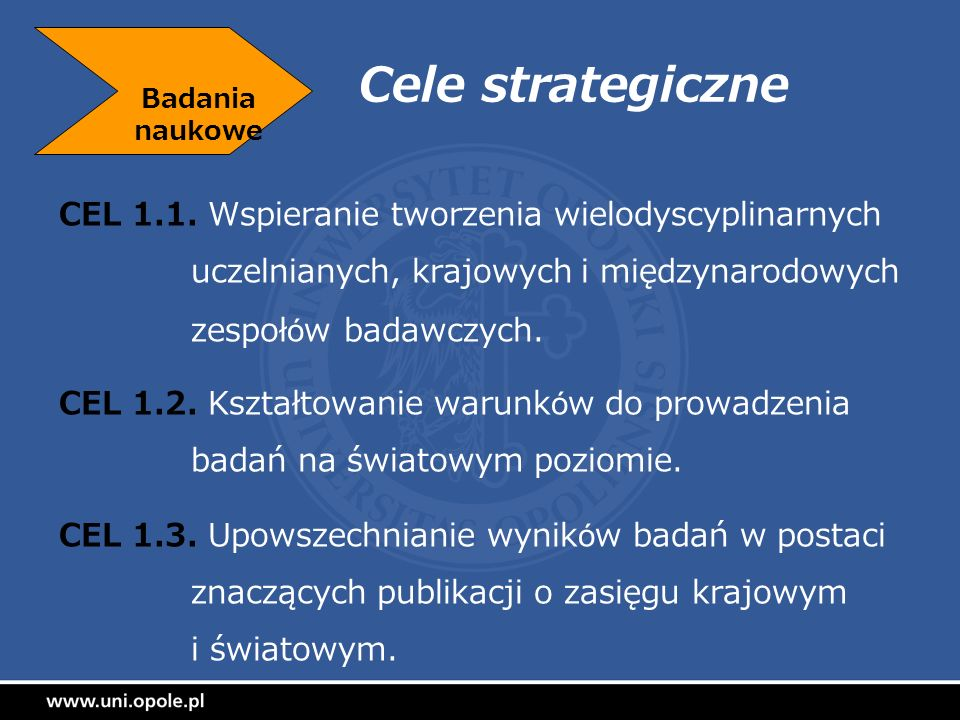 Badania naukowe Cele strategiczne.