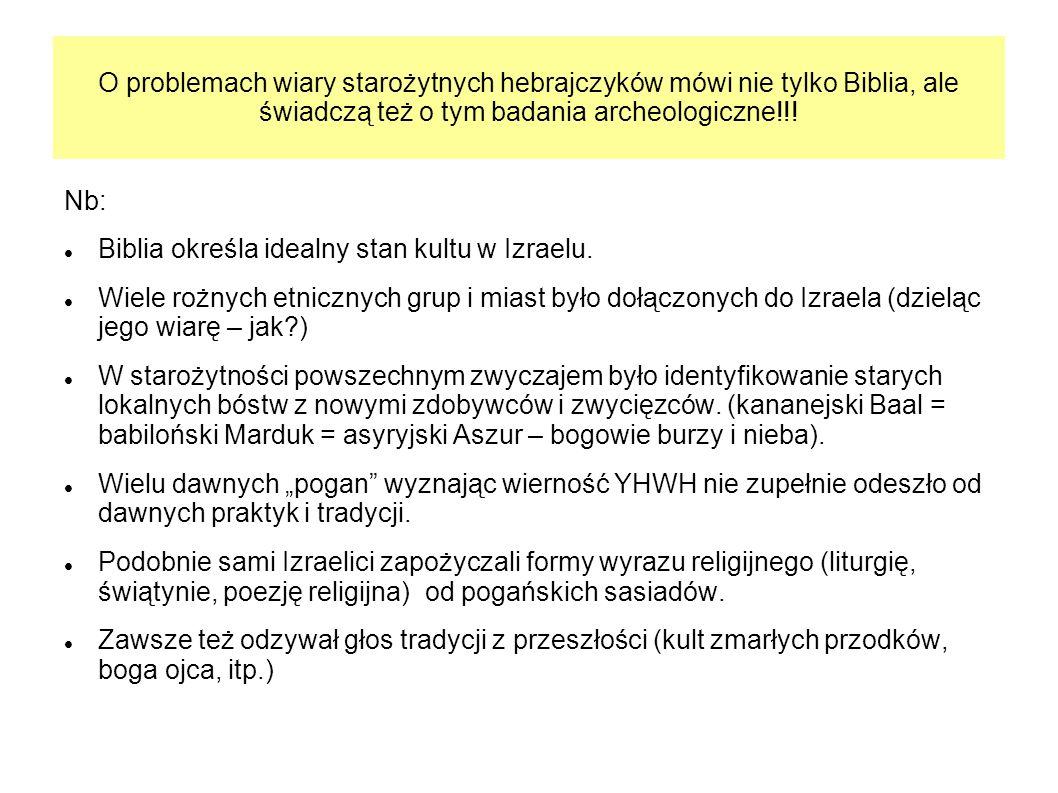 O problemach wiary starożytnych hebrajczyków mówi nie tylko Biblia, ale świadczą też o tym badania archeologiczne!!!