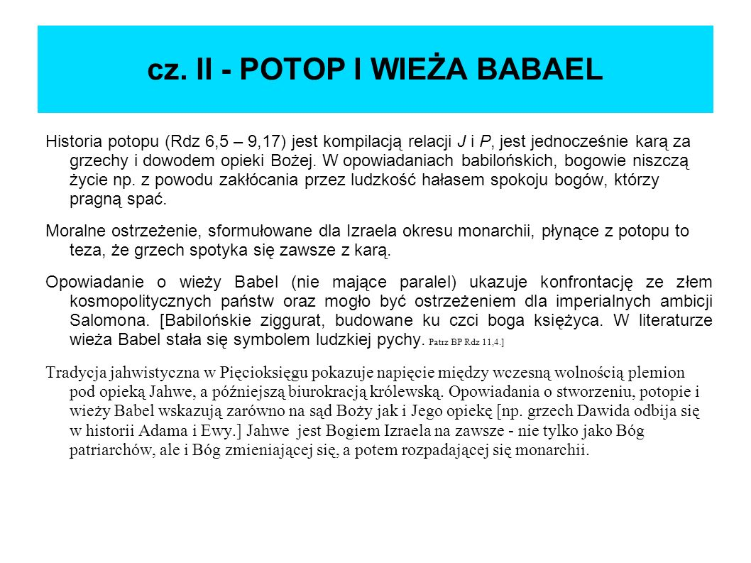 cz. II - POTOP I WIEŻA BABAEL