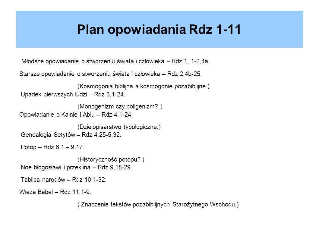 Plan opowiadania Rdz 1-11 Młodsze opowiadanie o stworzeniu świata i człowieka – Rdz 1, 1-2,4a.