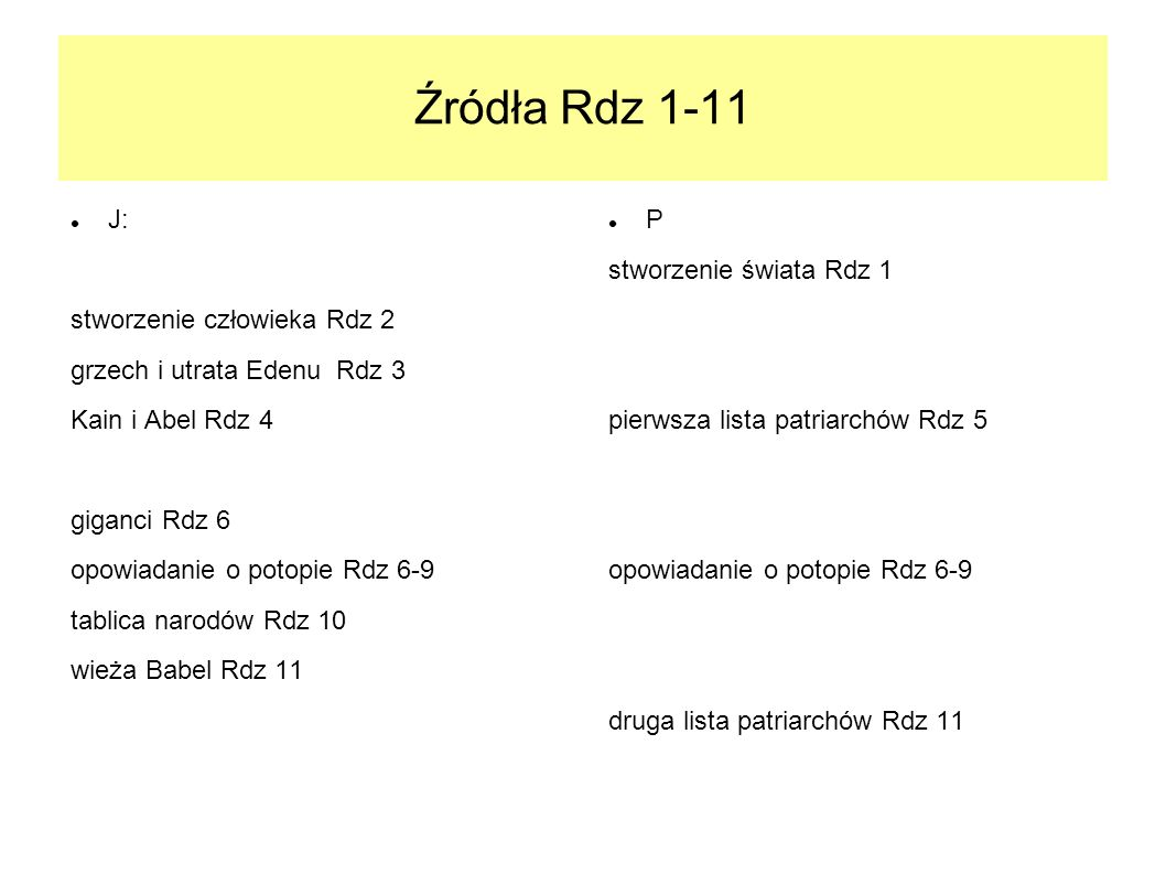 Źródła Rdz 1-11 J: stworzenie człowieka Rdz 2