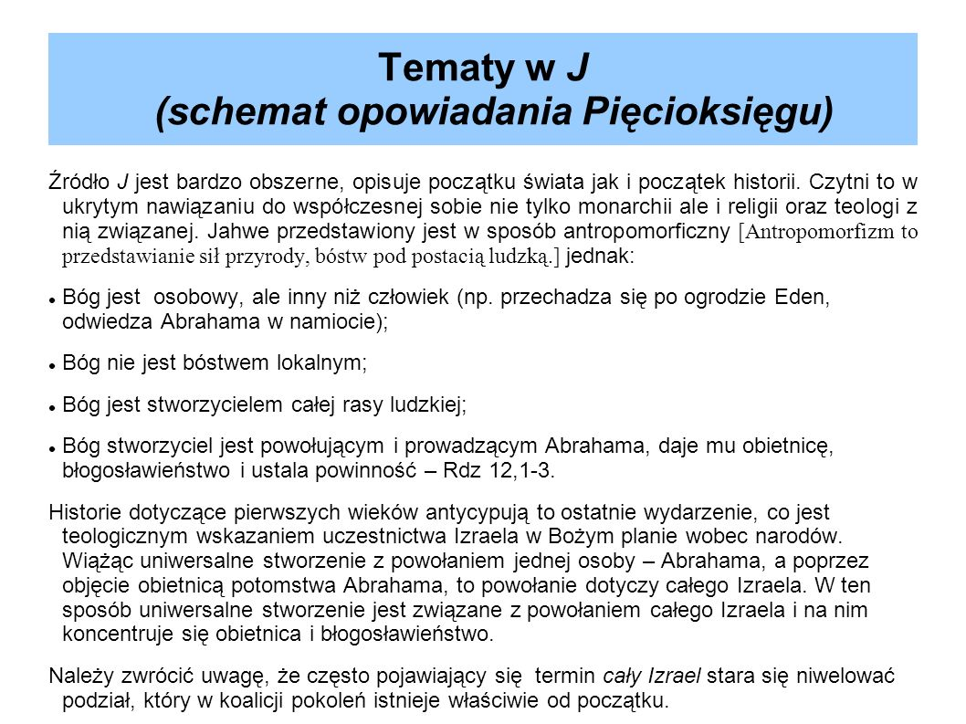 Tematy w J (schemat opowiadania Pięcioksięgu)