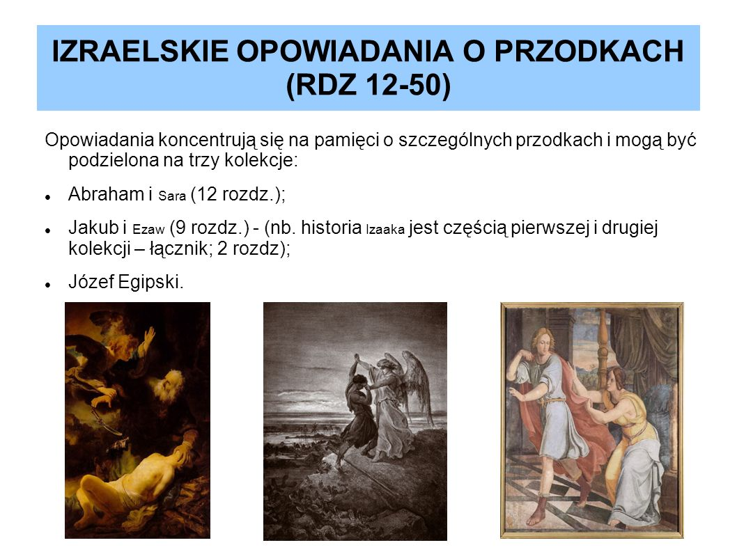 IZRAELSKIE OPOWIADANIA O PRZODKACH (RDZ 12-50)