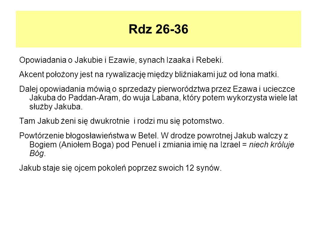 Rdz 26-36 Opowiadania o Jakubie i Ezawie, synach Izaaka i Rebeki.