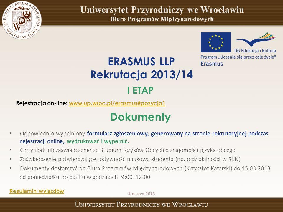 ERASMUS LLP Rekrutacja 2013/14 Dokumenty