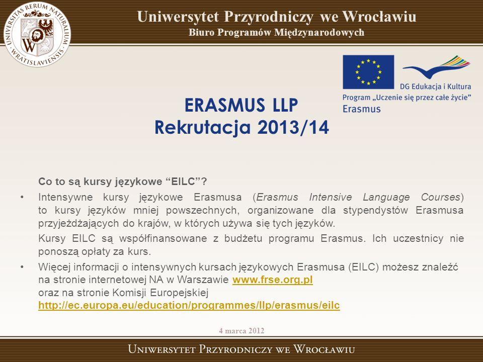 ERASMUS LLP Rekrutacja 2013/14