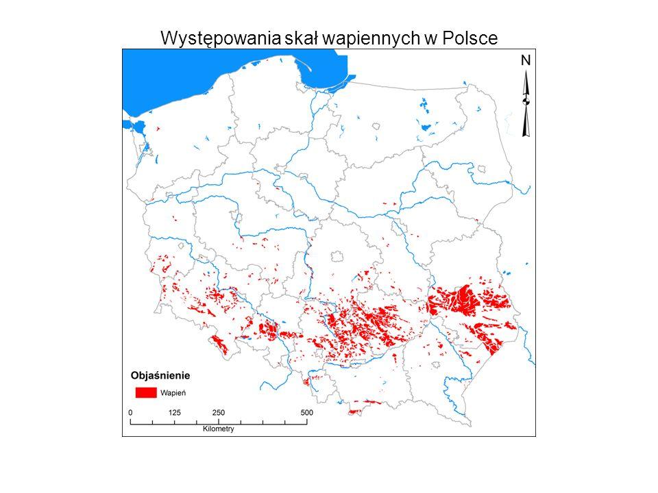 Występowania skał wapiennych w Polsce
