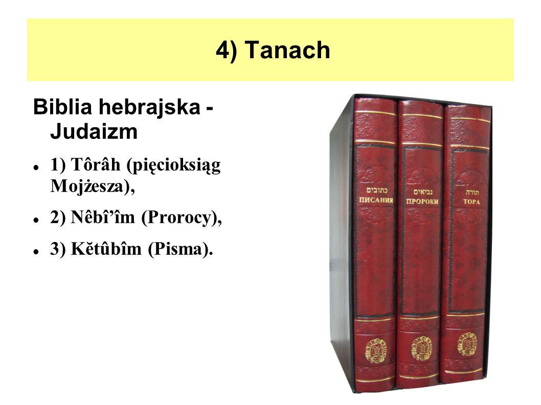 4) Tanach Biblia hebrajska - Judaizm 1) Tôrâh (pięcioksiąg Mojżesza),