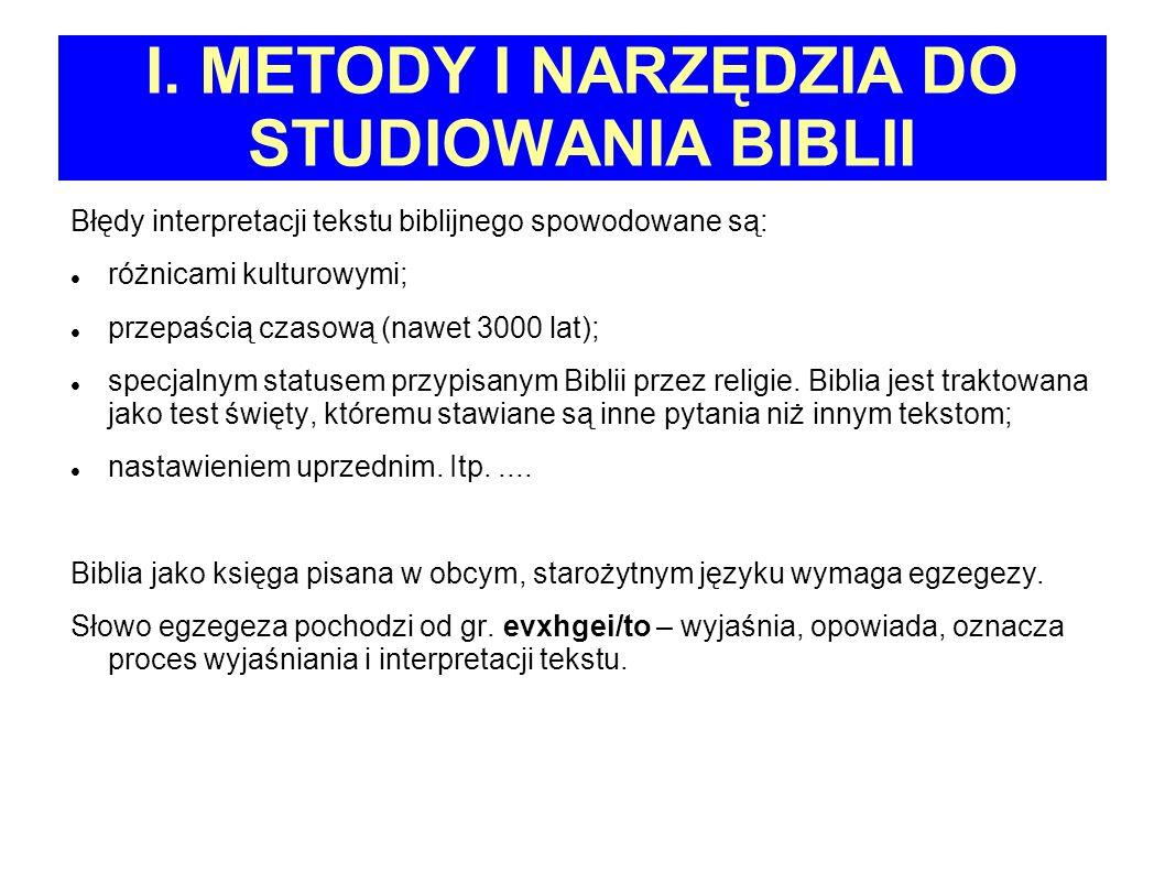 I. METODY I NARZĘDZIA DO STUDIOWANIA BIBLII