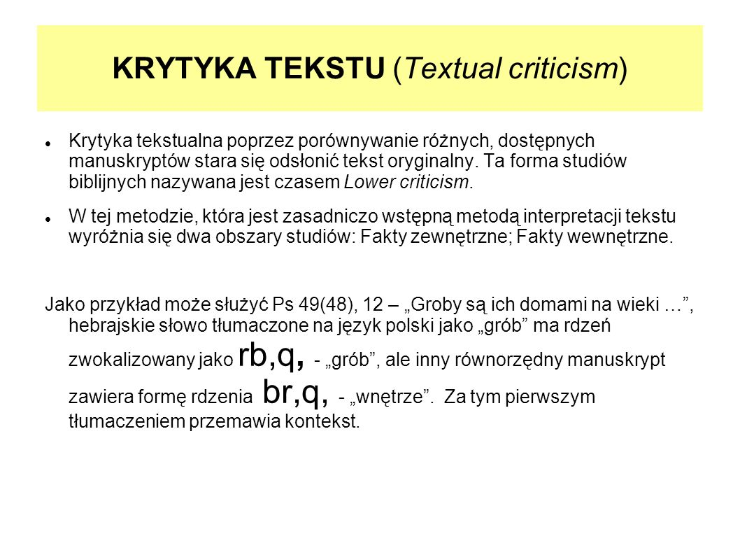 KRYTYKA TEKSTU (Textual criticism)