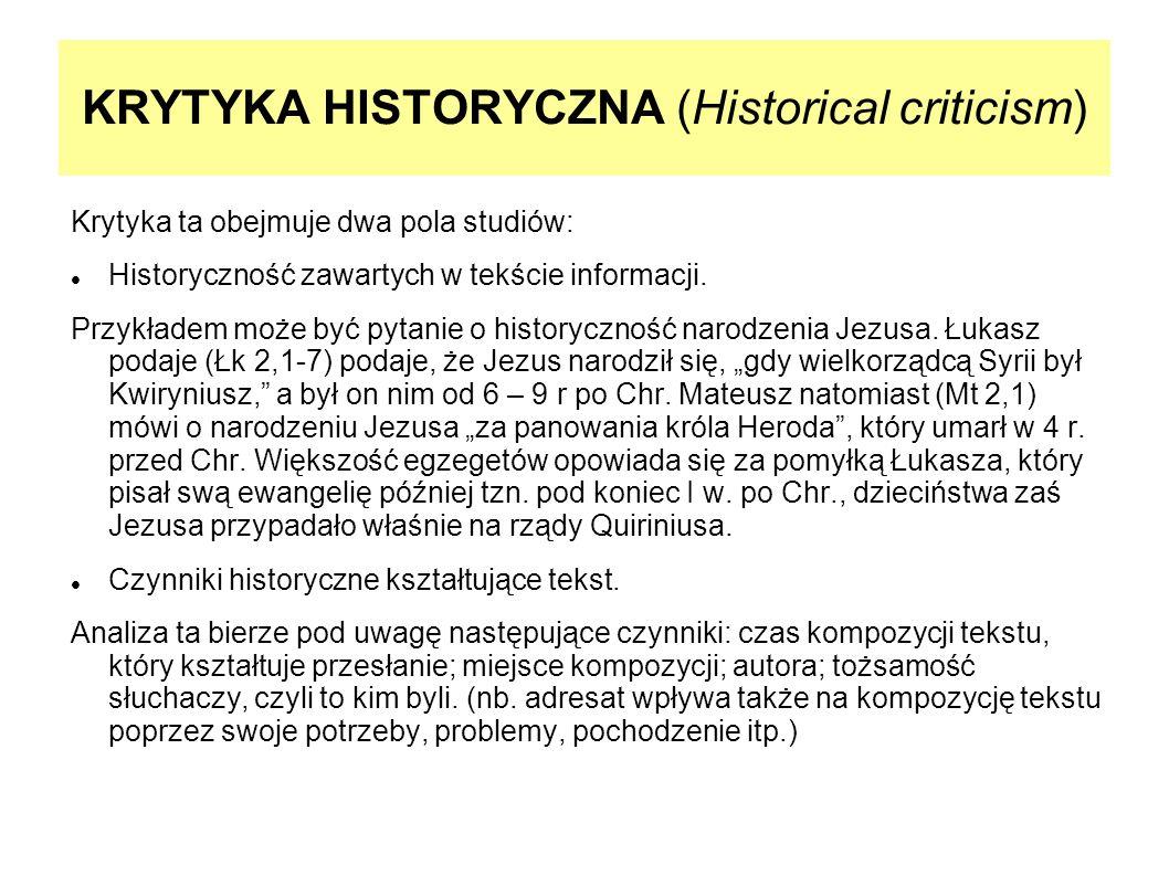 KRYTYKA HISTORYCZNA (Historical criticism)