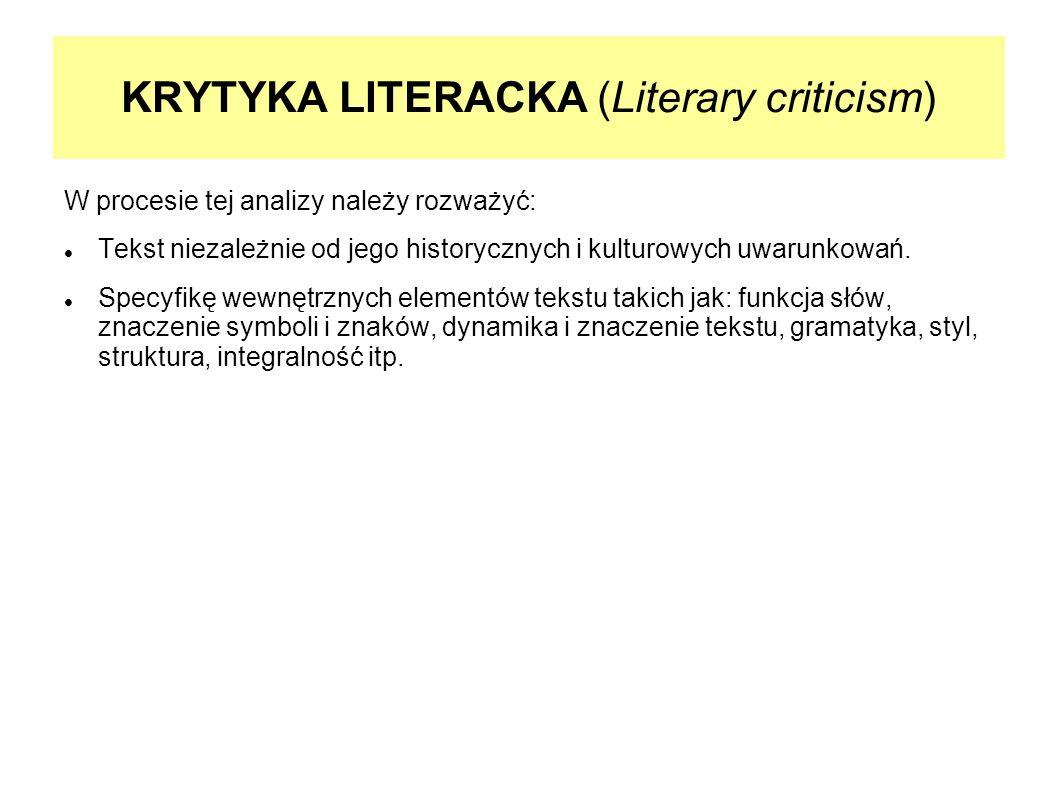 KRYTYKA LITERACKA (Literary criticism)