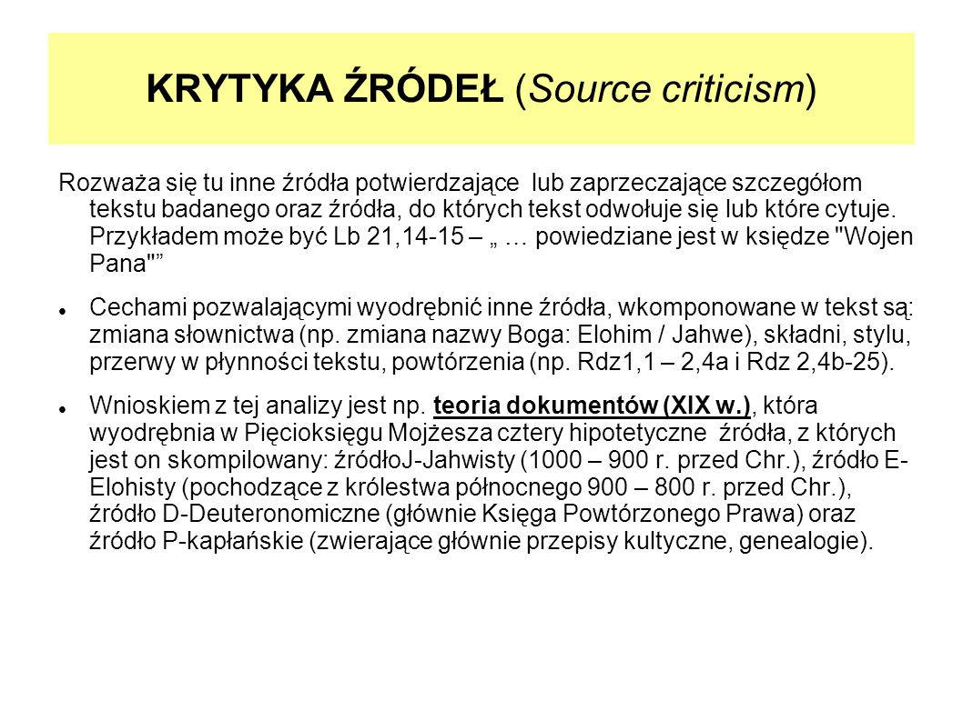 KRYTYKA ŹRÓDEŁ (Source criticism)
