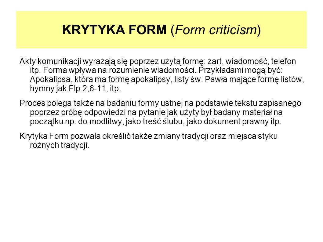 KRYTYKA FORM (Form criticism)