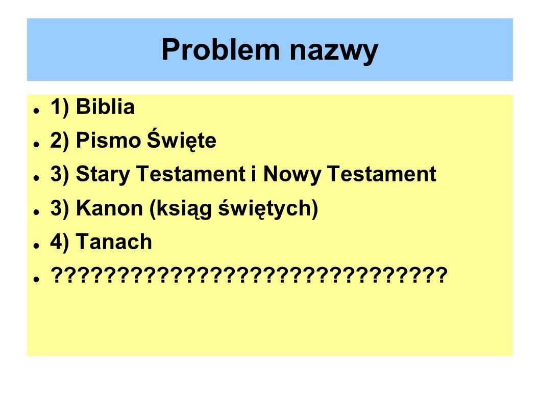 Problem nazwy 1) Biblia 2) Pismo Święte