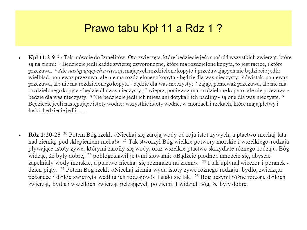 Prawo tabu Kpł 11 a Rdz 1