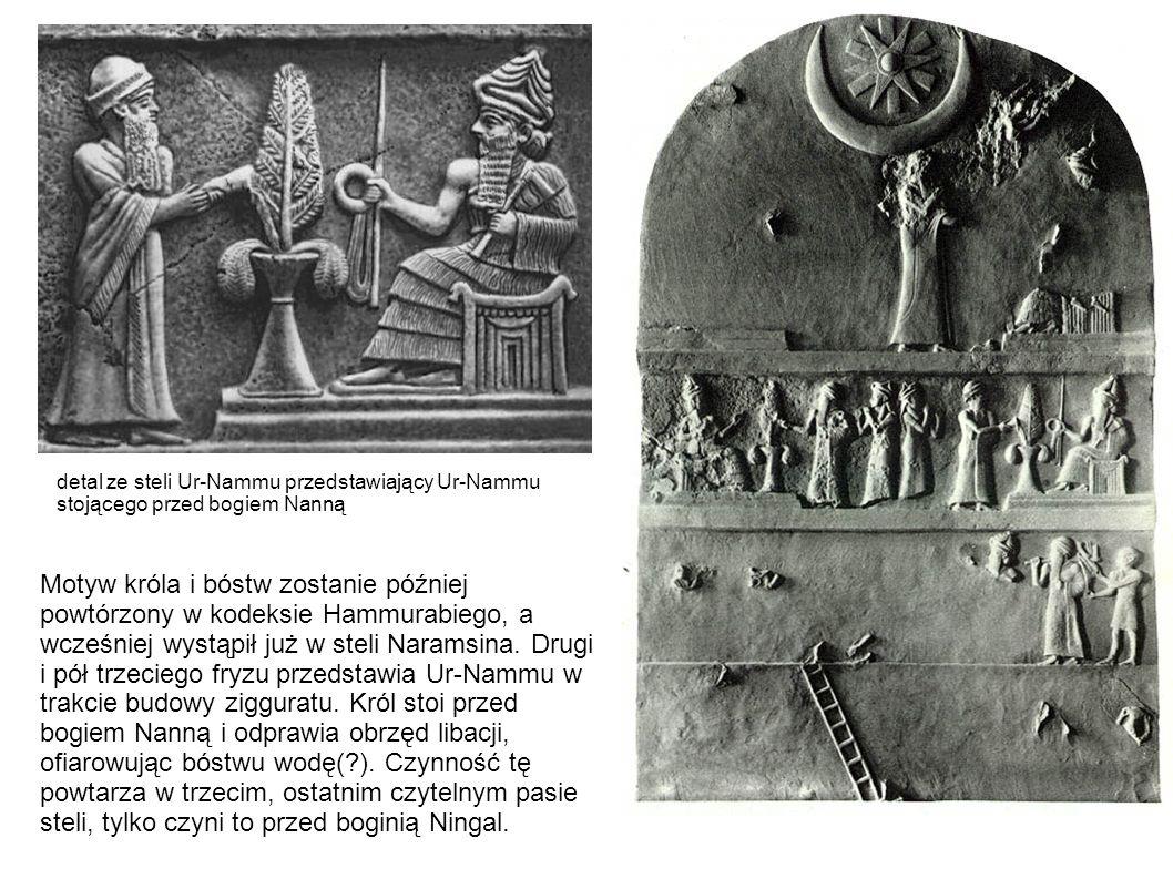 detal ze steli Ur-Nammu przedstawiający Ur-Nammu stojącego przed bogiem Nanną