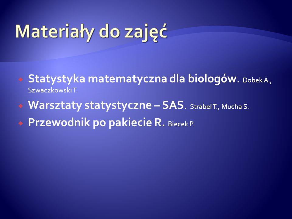 Materiały do zajęć Statystyka matematyczna dla biologów. Dobek A., Szwaczkowski T. Warsztaty statystyczne – SAS. Strabel T., Mucha S.