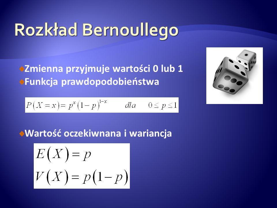 Rozkład Bernoullego Zmienna przyjmuje wartości 0 lub 1