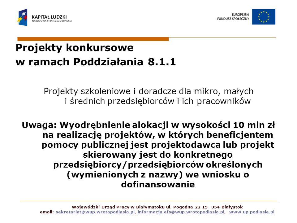 Projekty konkursowe w ramach Poddziałania 8.1.1