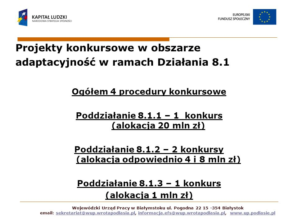 Projekty konkursowe w obszarze adaptacyjność w ramach Działania 8.1