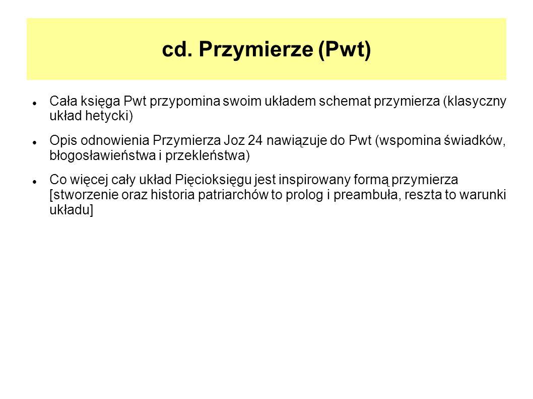 cd. Przymierze (Pwt) Cała księga Pwt przypomina swoim układem schemat przymierza (klasyczny układ hetycki)