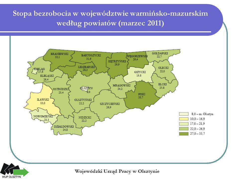 Stopa bezrobocia w województwie warmińsko-mazurskim według powiatów (marzec 2011)