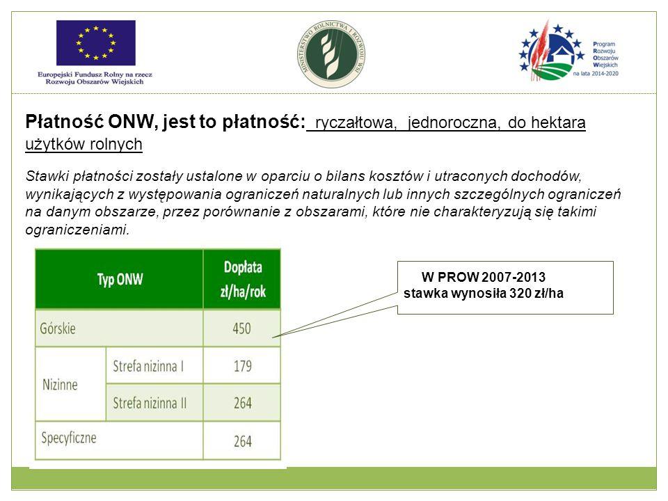 W PROW 2007-2013 stawka wynosiła 320 zł/ha