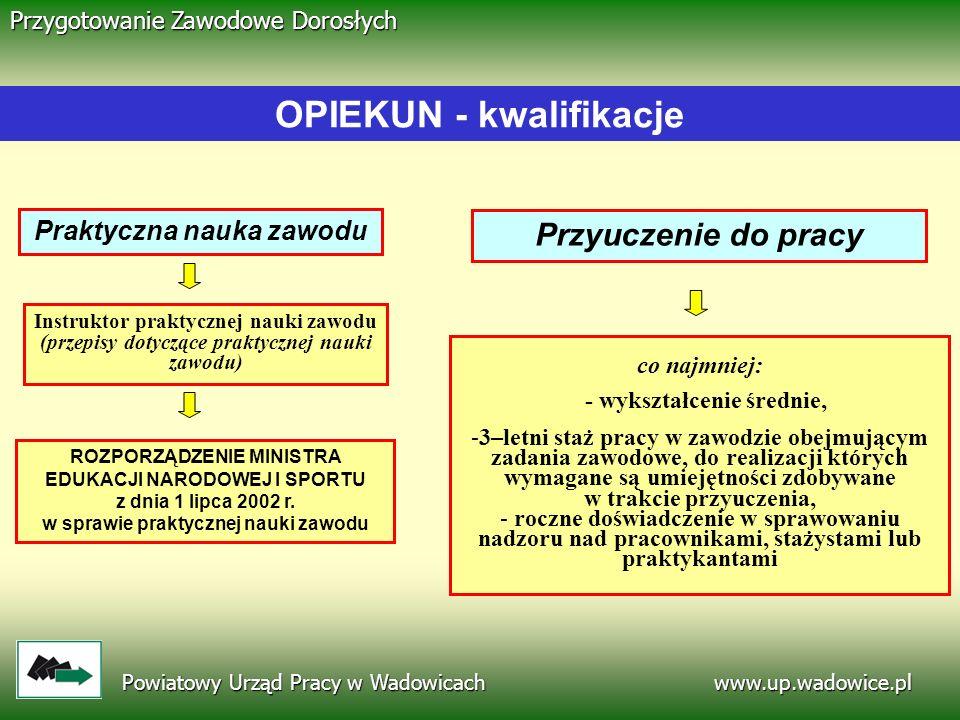 OPIEKUN - kwalifikacje