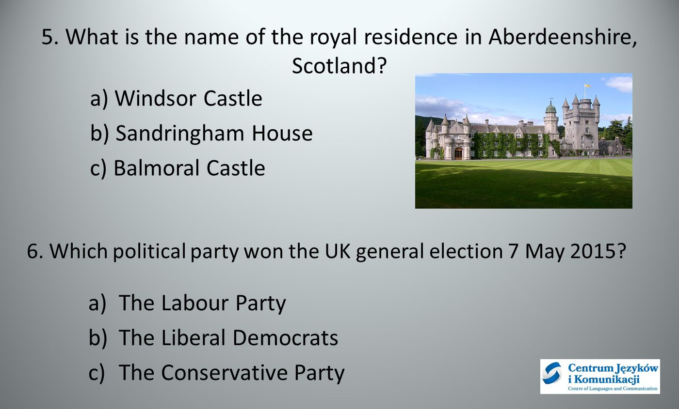 5. What is the name of the royal residence in Aberdeenshire, Scotland