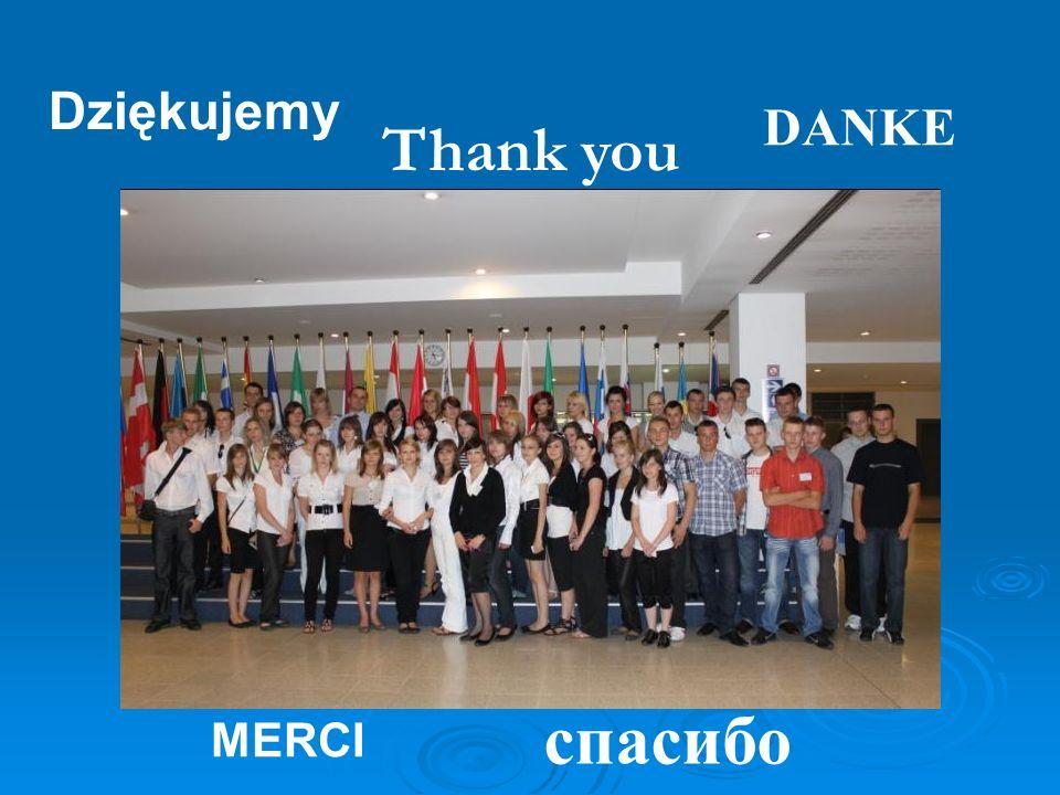 Dziękujemy DANKE Thank you спacибо MERCI