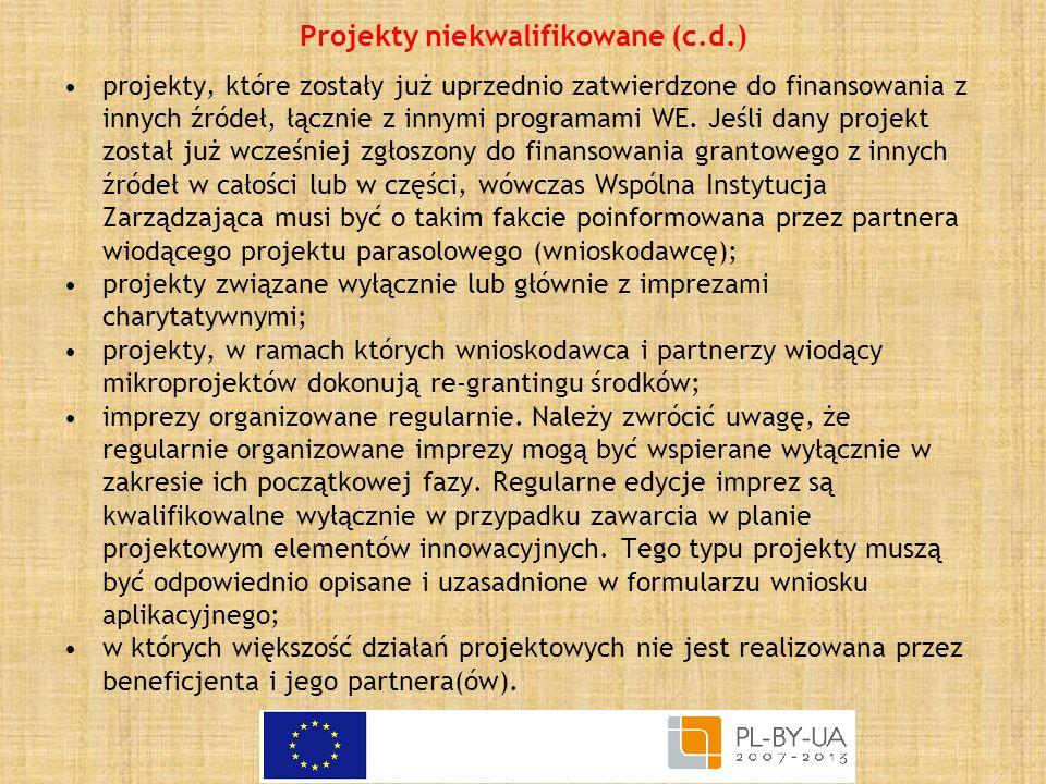 Projekty niekwalifikowane (c.d.)