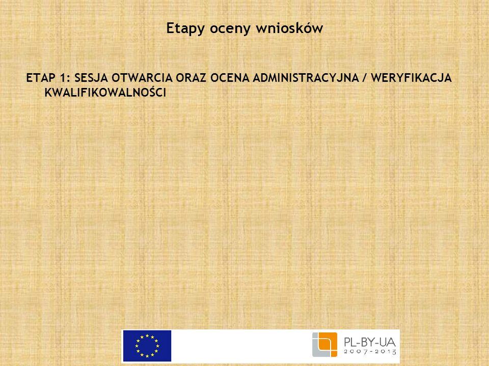 Etapy oceny wniosków ETAP 1: SESJA OTWARCIA ORAZ OCENA ADMINISTRACYJNA / WERYFIKACJA KWALIFIKOWALNOŚCI.