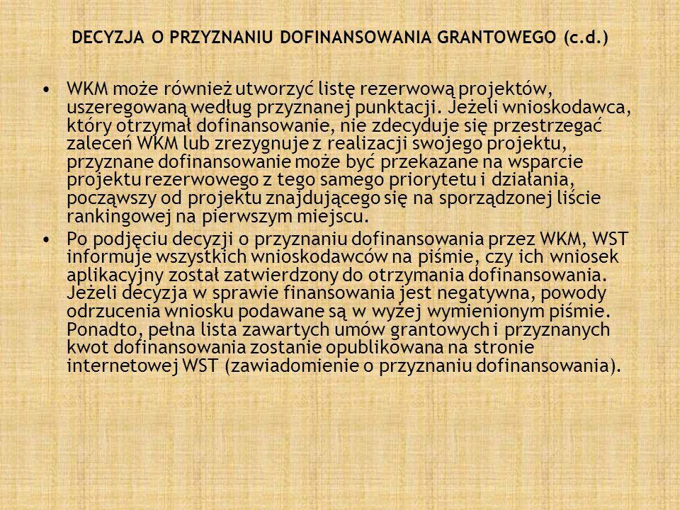 DECYZJA O PRZYZNANIU DOFINANSOWANIA GRANTOWEGO (c.d.)