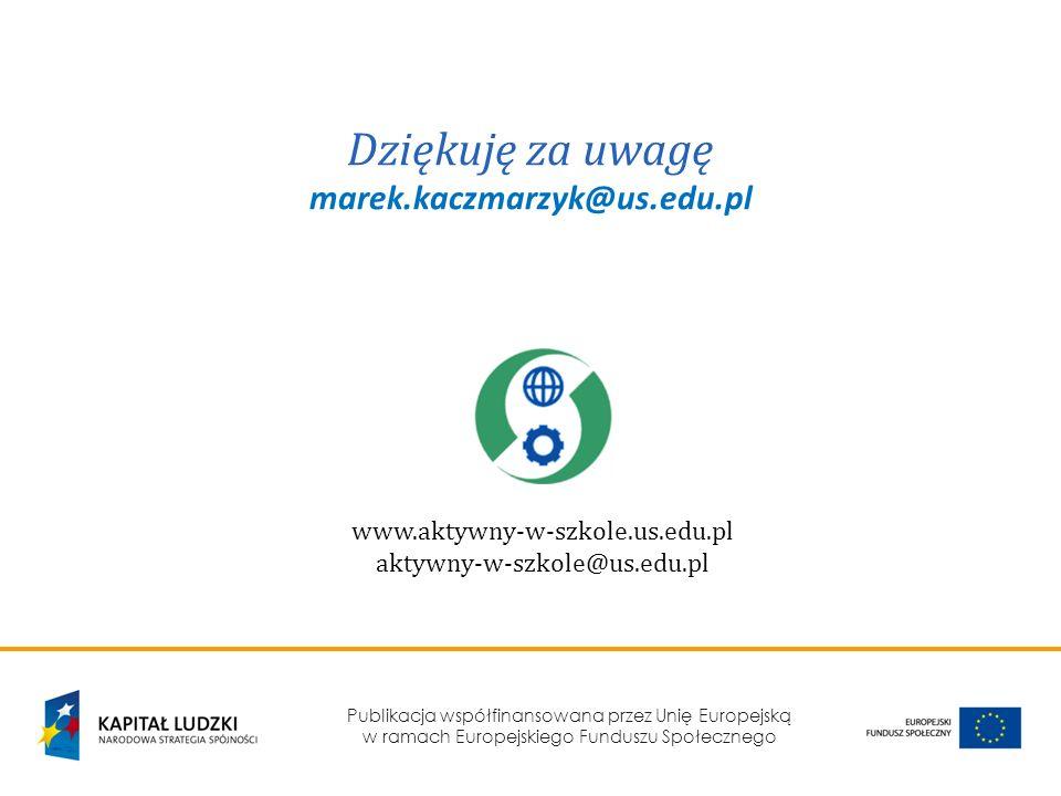 Dziękuję za uwagę marek.kaczmarzyk@us.edu.pl