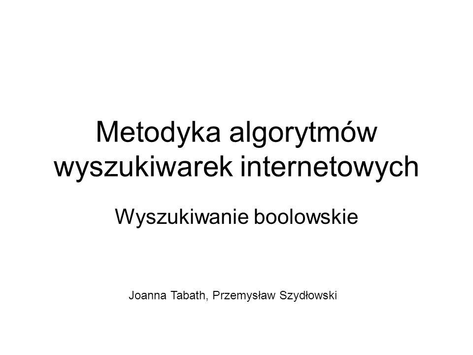 Metodyka algorytmów wyszukiwarek internetowych