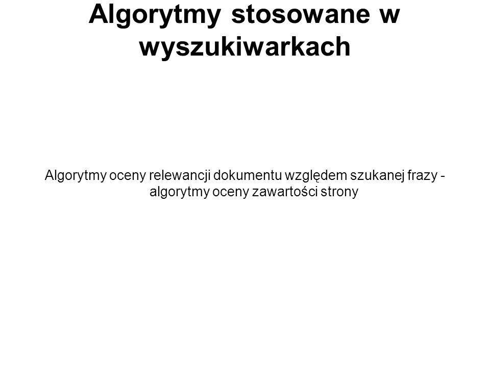 Algorytmy stosowane w wyszukiwarkach
