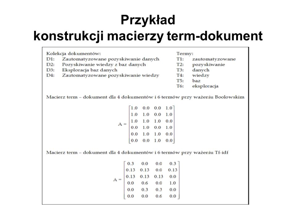 Przykład konstrukcji macierzy term-dokument
