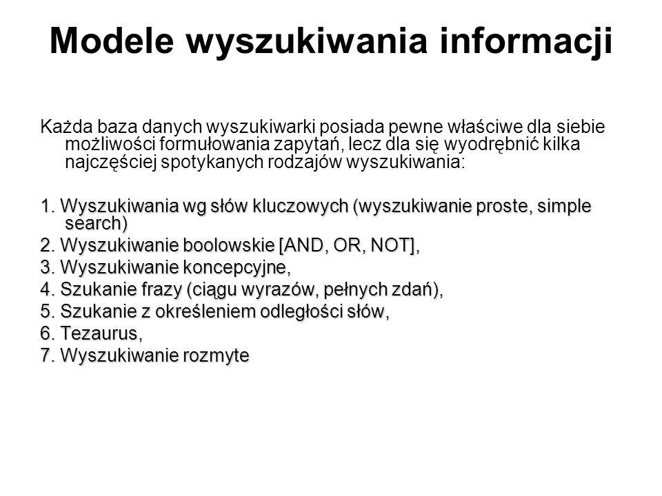Modele wyszukiwania informacji