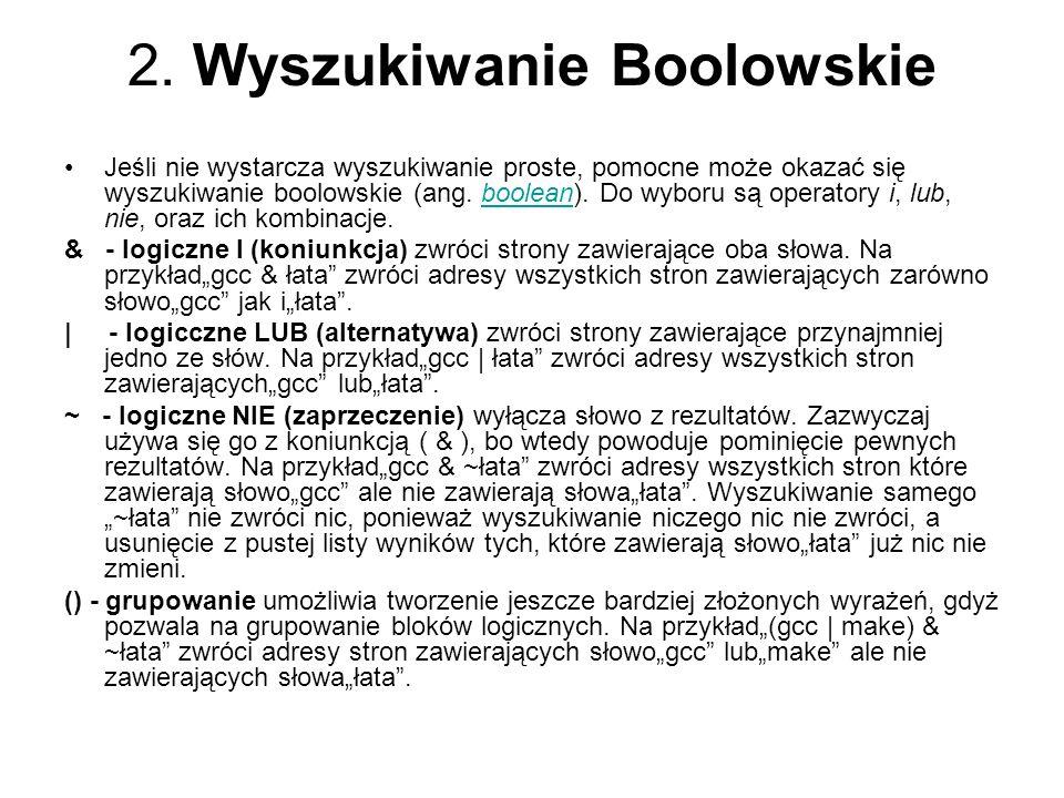 2. Wyszukiwanie Boolowskie