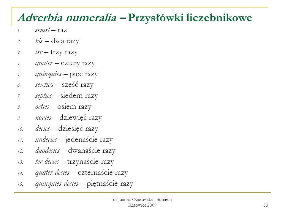 Adverbia numeralia – Przysłówki liczebnikowe