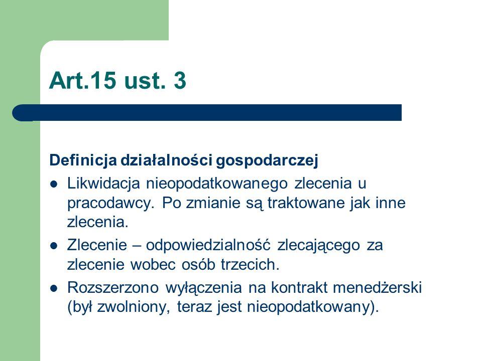 Art.15 ust. 3 Definicja działalności gospodarczej