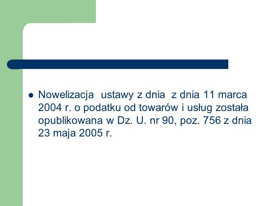 Nowelizacja ustawy z dnia z dnia 11 marca 2004 r
