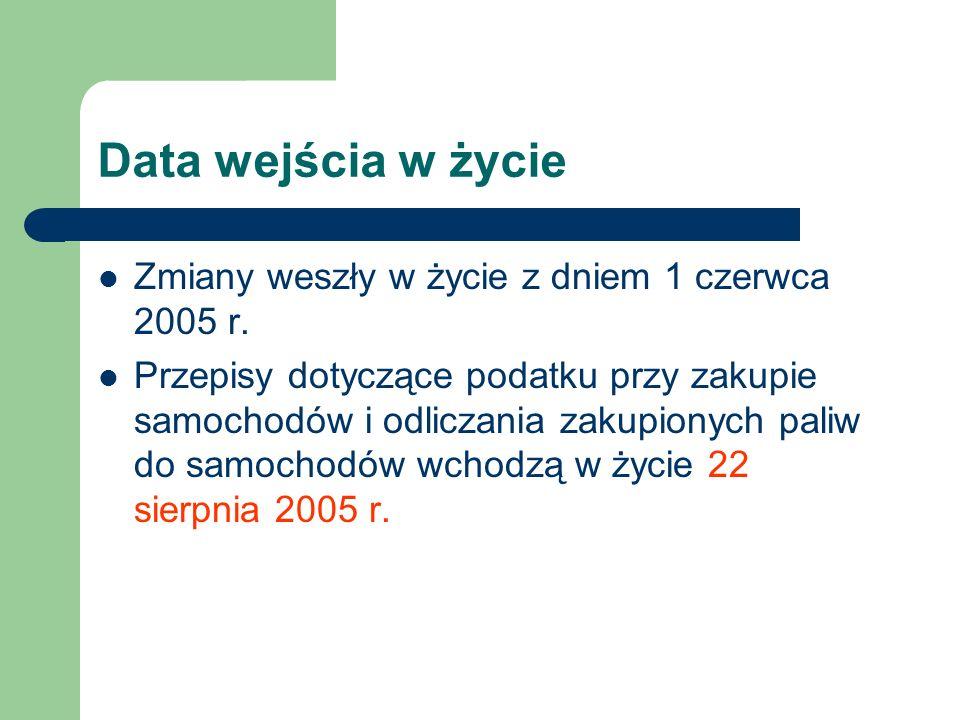 Data wejścia w życie Zmiany weszły w życie z dniem 1 czerwca 2005 r.