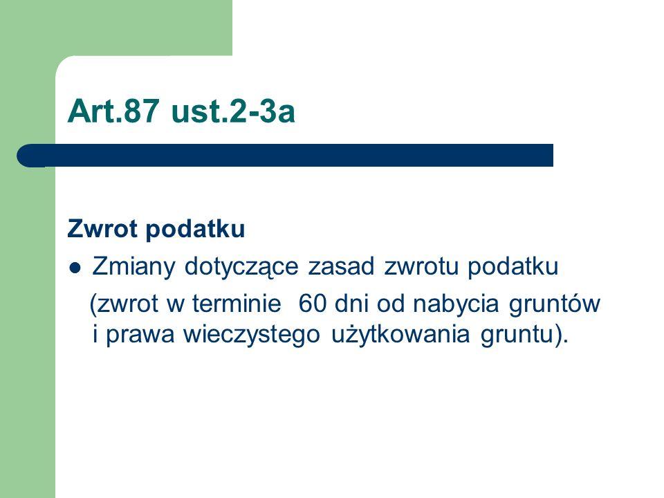 Art.87 ust.2-3a Zwrot podatku Zmiany dotyczące zasad zwrotu podatku
