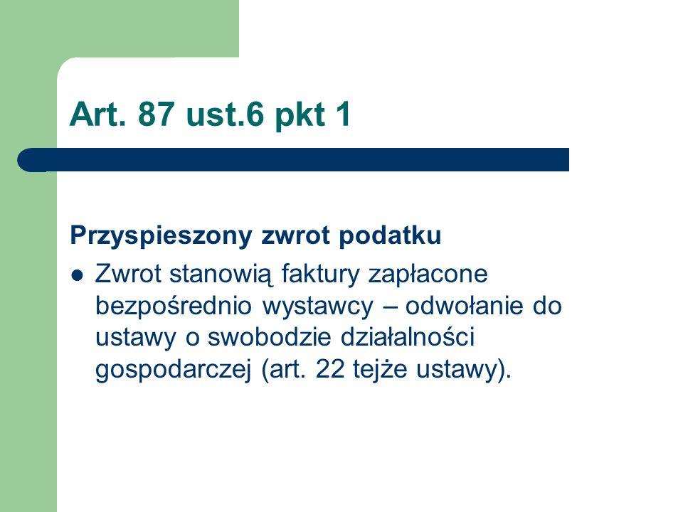 Art. 87 ust.6 pkt 1 Przyspieszony zwrot podatku