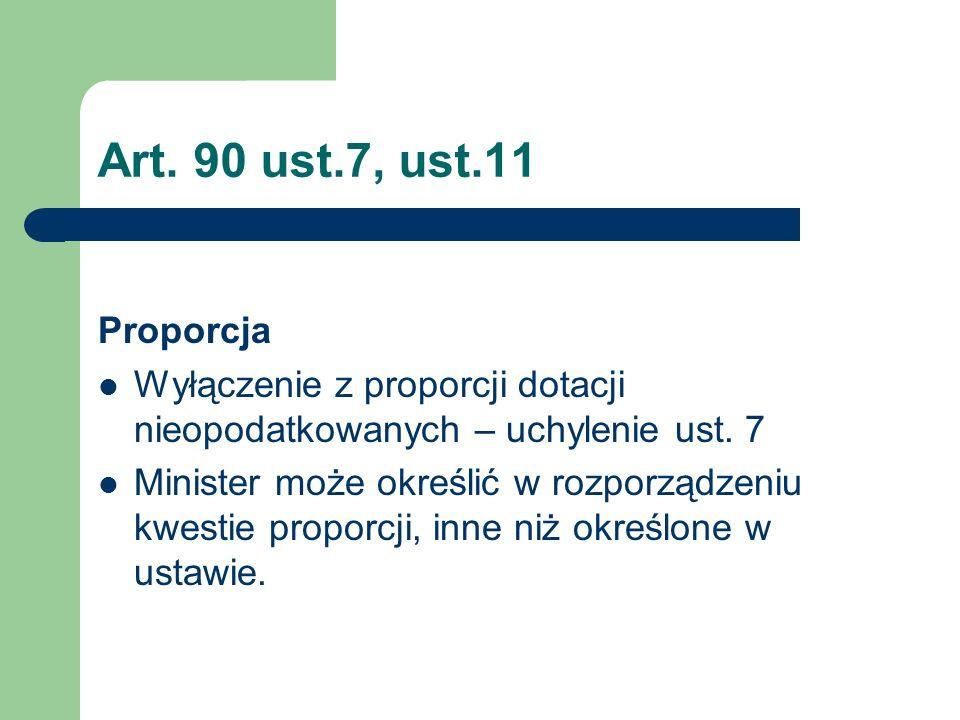 Art. 90 ust.7, ust.11 Proporcja. Wyłączenie z proporcji dotacji nieopodatkowanych – uchylenie ust. 7.
