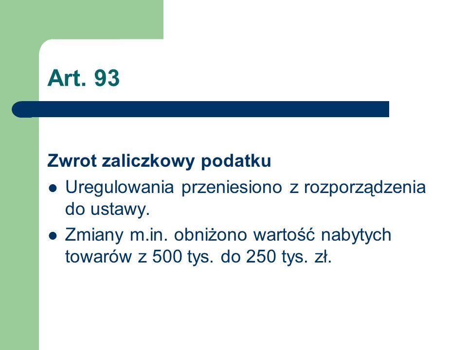 Art. 93 Zwrot zaliczkowy podatku