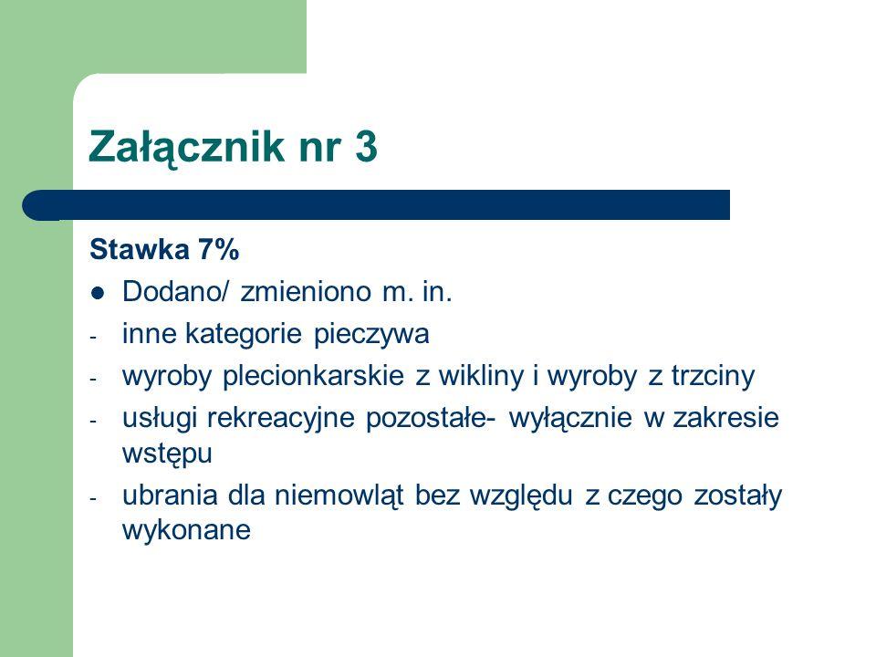 Załącznik nr 3 Stawka 7% Dodano/ zmieniono m. in.