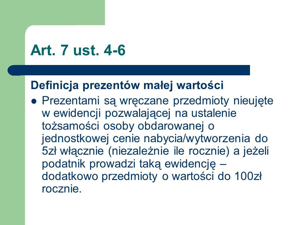 Art. 7 ust. 4-6 Definicja prezentów małej wartości